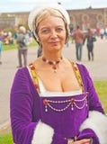 Mittelalterliche Dame am Fort George Stockfotografie