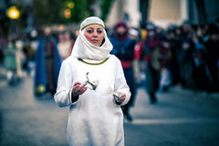Mittelalterliche Dame an im Freien Lizenzfreies Stockbild