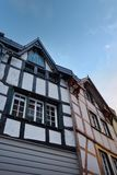 Mittelalterliche deutsche Architektur von Monschau Stockfotos