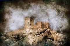 Mittelalterliche Festung - getonte Abbildung in der Retro- Art Stockbilder