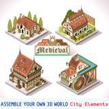Mittelalterliche 02 Fliesen isometrisch Stockfotos
