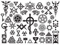 Mittelalterliche geheimnisvolle Zeichen und Magie-Stempel Stockbild