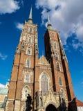 Mittelalterliche, gotische Kathedrale im Wroclaw, Polen Stockfoto