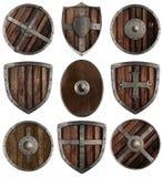 Mittelalterliche hölzerne Schildsammlung lokalisiert Lizenzfreie Stockfotos