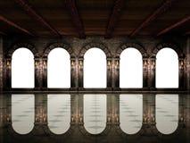 Mittelalterliche Halle und Bögen Stockbilder