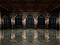 Mittelalterliche Hallen- und Eisengeländer Lizenzfreie Stockbilder