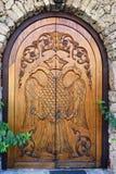Mittelalterliche Holztür, Griechenland Stockfoto