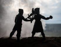 Mittelalterliche Kampfszene mit Kavallerie und Infanterie Schattenbilder von Zahlen als unterschiedlichen Gegenst?nden, Kampf zwi stockfotografie