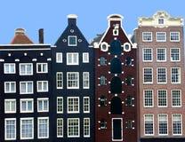 Mittelalterliche Kanalhäuser schließen oben in Amsterdam  Stockfotos