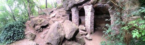 Mittelalterliche Kapelle und ein Esszimmer von den Felsen in Tihany Ungarn Stockbild