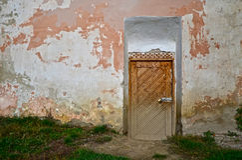 Mittelalterliche kleine Tür Lizenzfreies Stockfoto