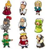 Mittelalterliche Leuteikone der Karikatur Lizenzfreie Stockfotos