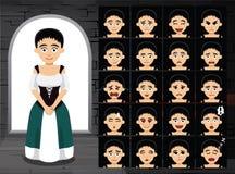 Mittelalterliche Mädchen-Cartoon Emotion Faces-Vektor-Illustration Lizenzfreies Stockfoto