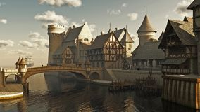 Mittelalterliche oder Fantasie-Docks stock abbildung
