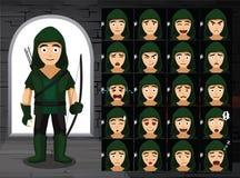 Mittelalterliche Robin Hood Cartoon Emotion Faces Vector-Illustration Lizenzfreies Stockfoto