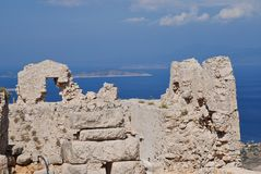 Mittelalterliche Schlossruinen, Halki Lizenzfreies Stockbild