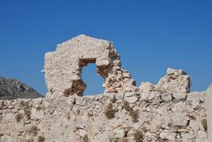 Mittelalterliche Schlossruinen, Halki-Insel Stockbilder