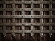 Mittelalterliche Schlosswand oder Metallgatter Stockbild