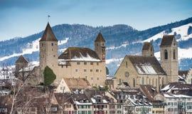 Mittelalterliche Stadt (Altstatd) von Rapperswil, die Schweiz lizenzfreies stockbild