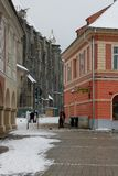 Mittelalterliche Stadt im Winter Lizenzfreie Stockbilder
