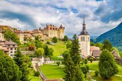 Mittelalterliche Stadt von Gruyeres, Fribourg, die Schweiz lizenzfreies stockbild