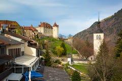 Mittelalterliche Stadt von Gruyeres und von Schloss, Kanton Freiburg, die Schweiz lizenzfreies stockbild