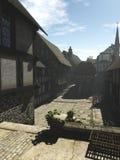 Mittelalterliche Straße im früher Morgen-Nebel Stockfotografie