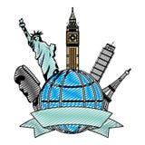 Mittelalterliche Turm- und Skulpturarchitektur des Gekritzels auf der Welt stock abbildung