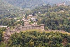 Mittelalterliche Verstärkungen von Bellinzona lizenzfreie stockfotos