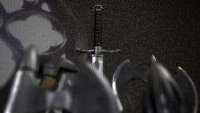 Mittelalterliche Waffe innerhalb eines Schlosses stock footage