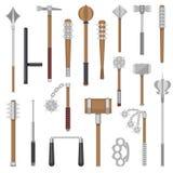 Mittelalterliche Waffen vector alten Schutzkriegers- und Antikenmetallhammerillustrations-Kampfmittelsatz der Dreschflegelwaffe stock abbildung