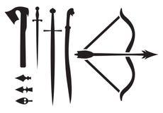 Mittelalterliche Waffenikonen Lizenzfreies Stockfoto