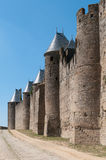 Mittelalterliche Wand mit Kontrolltürmen, Carcassonne, Frankreich Lizenzfreie Stockfotografie