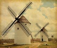 Mittelalterliche Windmühlen. Lizenzfreie Stockbilder