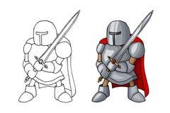 Mittelalterlicher überzeugter Ritter der Karikatur mit der breiten Klinge, lokalisiert auf weißem Hintergrund lizenzfreie stockfotografie