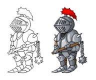 Mittelalterlicher überzeugter Ritter der Karikatur mit morgenstern, lokalisiert auf weißem Hintergrund stockbild