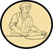 Mittelalterlicher Bäcker Rolling Pin Oval Drawing Stockbild