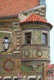 Mittelalterlicher Balkon in Telc Stockbild