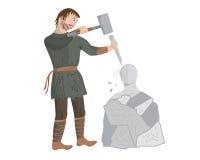 Mittelalterlicher Bildhauer Stockbild