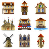 Mittelalterlicher Gebäudeikonen-Vektorsatz Stockfotografie