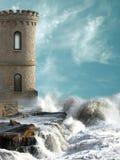 Mittelalterlicher Kontrollturm Stockfotos