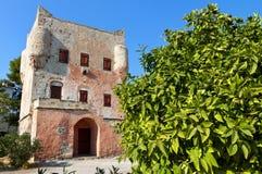 Mittelalterlicher Kontrollturm in Griechenland Stockbild