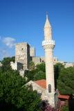 Mittelalterlicher Kontrollturm und Moschee im Bodrum Schloss Lizenzfreies Stockbild