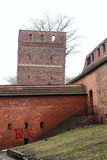 Mittelalterlicher lehnender Verteidigungsturm von Torun über weißem Himmel Lizenzfreie Stockfotografie