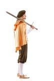 Mittelalterlicher Mannritter mit dem langem Haar und Klinge Lizenzfreie Stockbilder