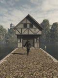 Mittelalterlicher Ritter Defending ein Gatehouse Stockbild