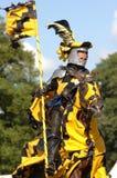 Mittelalterlicher Ritter, der ein Pferd reitet Lizenzfreie Stockfotografie
