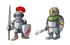 Mittelalterlicher Ritter der Karikatur mit dem Schild und Klinge, lokalisiert auf weißem Hintergrund stockfotos