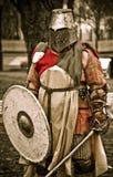 Mittelalterlicher Ritter in der Rüstung Stockbilder