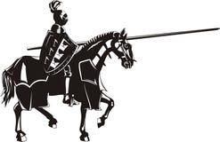 Mittelalterlicher Ritter zu Pferd lizenzfreie abbildung